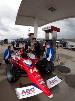 Car of Vitor Meira, A.J. Foyt Enterprises at refuel station