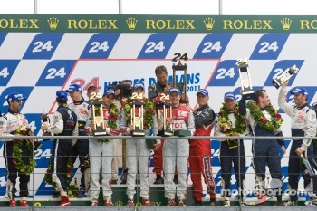 Audi and Peugeot celebrate Le Mans finish on podium