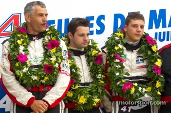 LM P2 podium: class winners Karim Ojjeh, Tom Kimber-Smith, Olivier Lombard