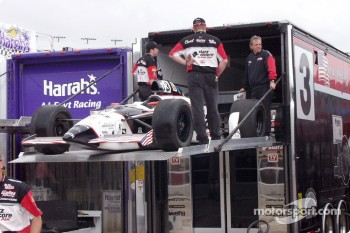 Unser's backup car being loaded on the hauler