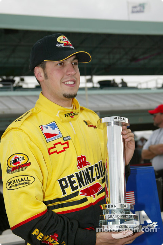Sam Hornish Jr. with the MBNA Pole Position trophy