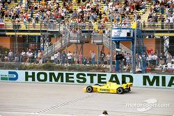 Sam Hornish Jr. taking the checkered flag