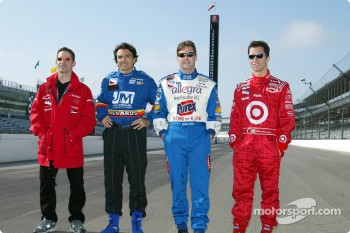 The top four qualifiers for the 86th running of the Indianapolis 500: Felipe Giaffone, Raul Boesel, Robbie Buhl and pole winner Bruno Junqueira