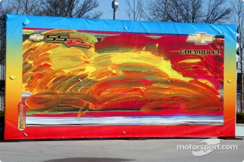 Peter Max backdrop for Indy 500 Pace Vehicle unveiling
