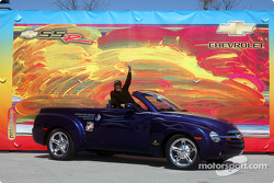 Peter Max sits inside the Chevy SSR Pace Vehicle