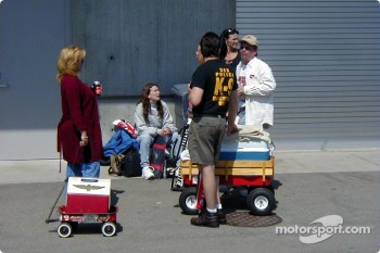 Mini-cooler full of beer being toted in a Radio Flyer Wagon