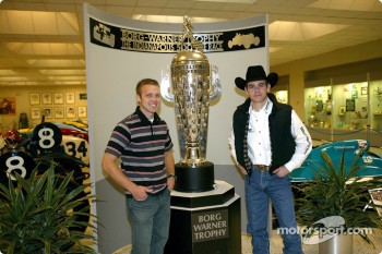 Ed Carpenter and Michael Gaffney with the Borg-Warner Trophy