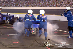 Tomas Scheckter get a push back to the track