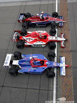 Front row photo shoot: Buddy Rice, Dan Wheldon and Dario Franchitti