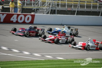 Buddy Rice, Dan Wheldon, Sam Hornish Jr. and Vitor Meira
