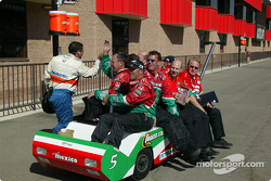 Fernandez Racing crew members celebrate victory