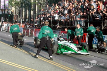 Paul Tracy peels out during demonstration pit stop in front of Mann's Chinese Theater.