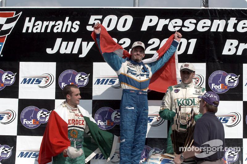 The podium: Michel Jourdain Jr., Patrick Carpentier and Dario Franchitti