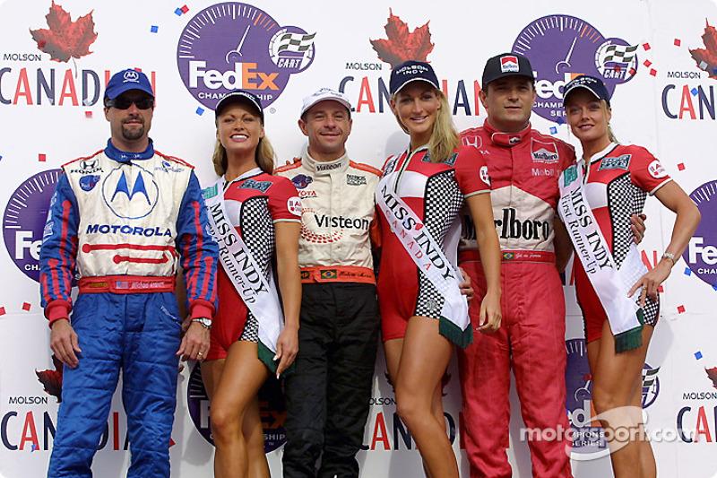 The podium: Michael Andretti, Roberto Moreno and Gil de Ferran
