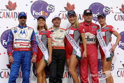 The podium: Michael Andretti, Roberto Moreno and Gil de Ferran