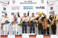 VLN Photos - Podium: Race winners Connor De Phillippi, Christopher Mies, Land Motorsport, Audi R8 LMS; second place Jörg Müller, Nico Menzel, BMW Team RBM, BMW M6 GT3; third place Jesse Krohn, Christian Krognes, Victor Bouveng, Walkenhorst Motorsport, BMW M6 GT3