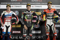 Top 3 der Superpole: 1. Jonathan Rea, Kawasaki Racing; 2. Nicky Hayden, Honda World Superbike Team; 3. Chaz Davies, Ducati Team