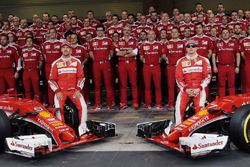 Sebastian Vettel, Ferrari and team mate Kimi Raikkonen, Ferrari at a team photograph