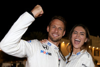 Jenson Button, McLaren, with his girlfriend Brittny Ward