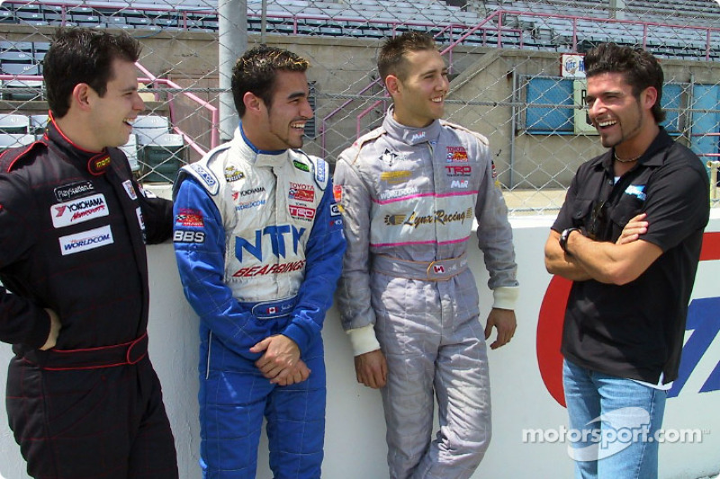 Alex Tagliani giving an on- track orientation at the Milwaukee Mile to Canadian drivers Stephan C. Roy, Jonathan Macri and Michael Valiante, in the Toyota Atlantics Series