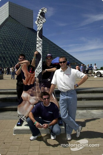 Visit to the Rock and Roll Hall of Fame: Patrick Carpentier, Mario Dominguez, Alex Tagliani and Michel Jourdain Jr.