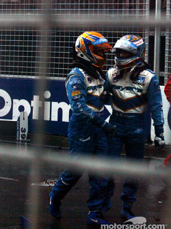 Patrick Carpentier and Alex Tagliani after the accident at the start