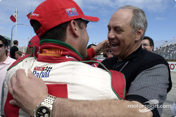 Ford's Dan Davis congratulates Michel Jourdain Jr. after his pole position