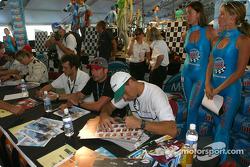 Drivers autograph session: Michel Jourdain Jr., Alex Tagliani and Gualter Salles