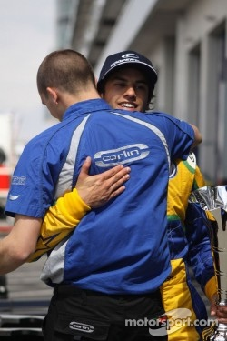 Felipe Nasr receives congratulations from the team