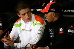 Paul di Resta, Force India F1 Team and Lewis Hamilton, McLaren Mercedes
