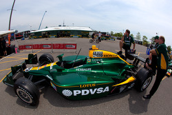 Car of EJ Viso, KV Racing Technology-Lotus at technical inspection