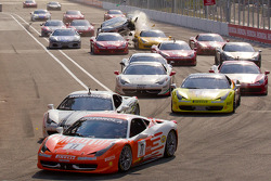 Start: #77 Ferrari of Silicon Valley Ferrari 458 Challenge: Harry Cheung takes the lead while #454 Ferrari of Ft. Lauderdale Ferrari F430 Challenge: Rob Metka crashes in the middle of the field