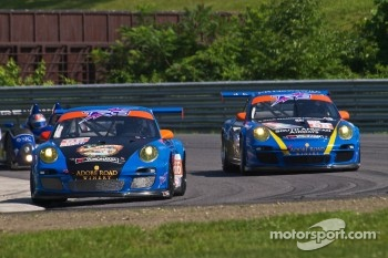 The #66 TRG Porsche 911 GT3 Cup and the #68 TRG Porsche 911 GT3 Cup at Lime Rock