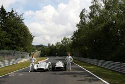 Michael Schumacher, Mercedes GP drives the Mercedes 1955 W196s and Nico Rosberg, Mercedes GP drives the 1955 Mercedes W196