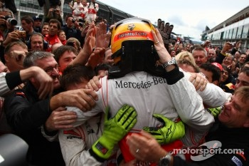 Race winner Lewis Hamilton, McLaren Mercedes celebrates