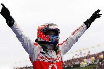Race winner Jenson Button, McLaren Mercedes celebrates