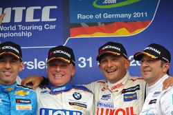 Franz Engstler, BMW 320 TC, Liqui Moly Team Engstler race winner, Alain Menu, Chevrolet Cruze 1.6T, Chevrolet 2nd position, Gabriele Tarquini, Seat Leon 2.0 TDI, Lukoil - Sunred 3rd position and Ibrahim Okyay BMW 320 Si, Borusan Otomotiv Motorsport