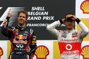 Podium: race winner Sebastian Vettel, Red Bull Racing, third place Jenson Button, McLaren Mercedes