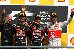 Podium: race winner Sebastian Vettel, Red Bull Racing, with Adrian Newey, Red Bull Racing, Technical Operations Director, second place Mark Webber, Red Bull Racing, and third place Jenson Button, McLaren Mercedes