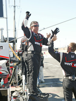Team Penske team members celebrate the victory of Will Power