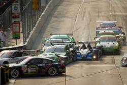 Start: #98 Jaguar RSR Jaguar XKR: P.J. Jones, Rocky Moran Jr., #52 PR1 Mathiasen Motorsports Oreca FLM09: Ken Dobson, Ryan Lewis and #34 Black Swan Racing Porsche 911 GT3 Cup: Peter LeSaffre, Andrew Davis tangle
