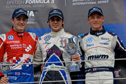 Podium from left: Jack Harvey, Pietro Fantin, and Rupert Svendsen-Cook