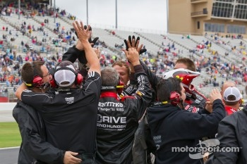 Hendrick Motorsports team members celebrate with win of Jeff Gordon