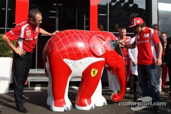 Stefano Domenicali Ferrari General Director and Fernando Alonso, Scuderia Ferrari and an elephant
