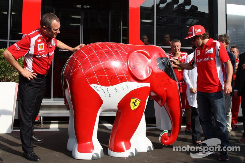 Stefano Domenicali Ferrari General Director and Fernando Alonso, Scuderia Ferrari and an elephant