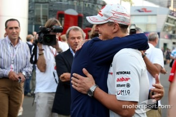 Luca di Montezemolo, Scuderia Ferrari, FIAT Chairman and President of Ferrari and Michael Schumacher, Mercedes GP F1 Team