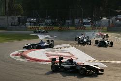 Leonardo Cordeiro, Marlon Stockinger, and Richie Stanaway, go off the track
