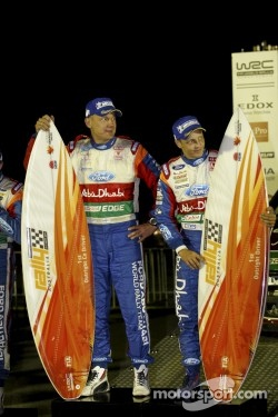 Rally winners Mikko Hirvonen and Jarmo Lehtinen