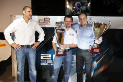 Guillarne Capictto from Lotus ART collects the winning GP3 teams trophy with Valtteri Bottas, collecting the GP3 champions trophy with Bruno Michel