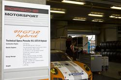 Information board for the #911 Porsche Motorpsorts North America Porsche GT3R Hybrid: Romain Dumas, Richard Lietz